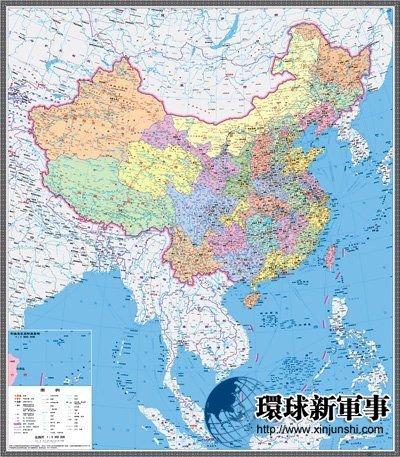 """中国地形""""图,海陆一体,南海诸岛标示了一百多个主要岛屿岛礁和"""