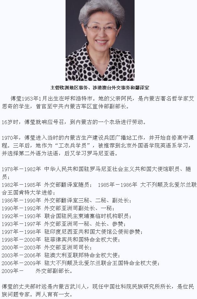 下任外交部长傅莹,+外交部傅莹及女儿的照片