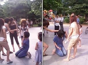 女生被逼下跪打耳光 女友让男友下跪打耳光