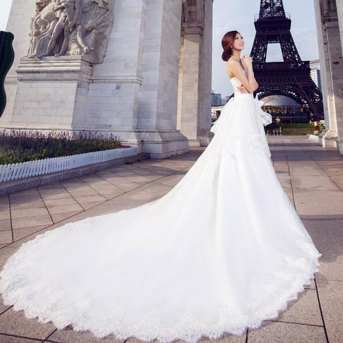 天蝎座专属大拖尾婚纱图片