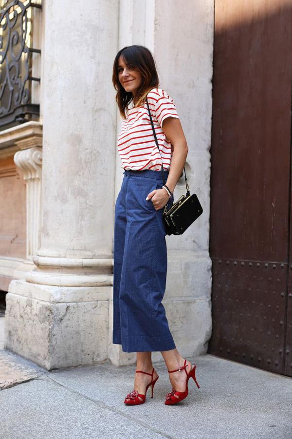 阔腿牛仔裤搭配什么鞋子好看图片 随意切换不同的穿搭风格