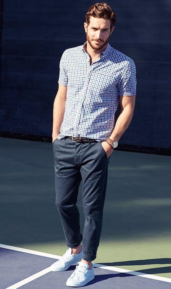 男士格子衬衫搭配图片配什么裤子 总有一种是你的风格