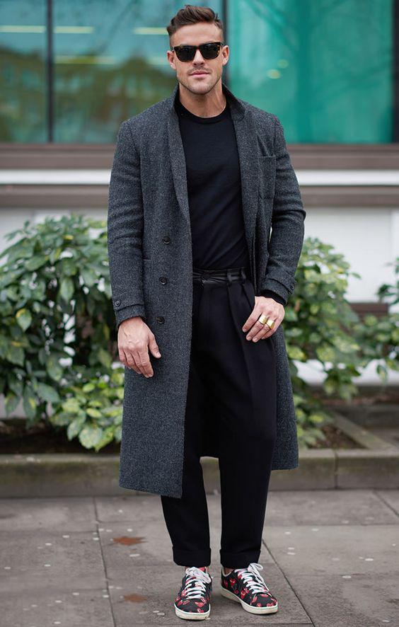 灰色大衣男搭配什么裤子好看图片 秋冬大衣这样穿帅气