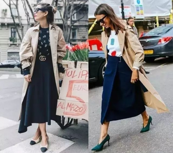 卡其色风衣搭配裙子配什么鞋子好看 风衣配裙子美得很精致