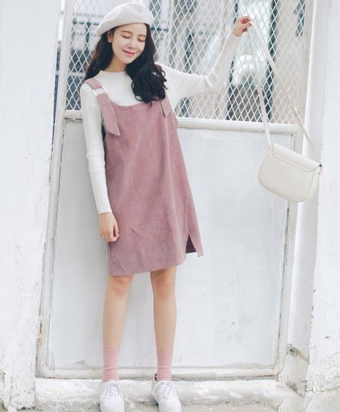 灯芯绒裙子配什么上衣怎么搭配图片 秋季这样搭时髦又复古